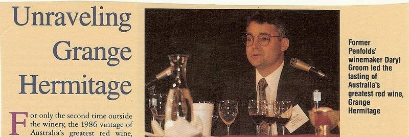 news clipping of Daryl Groom when he made wine for Penfolds Grange