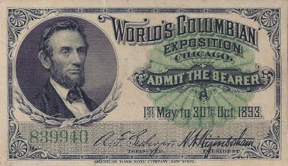 Ticket to the 1893 World's Fair