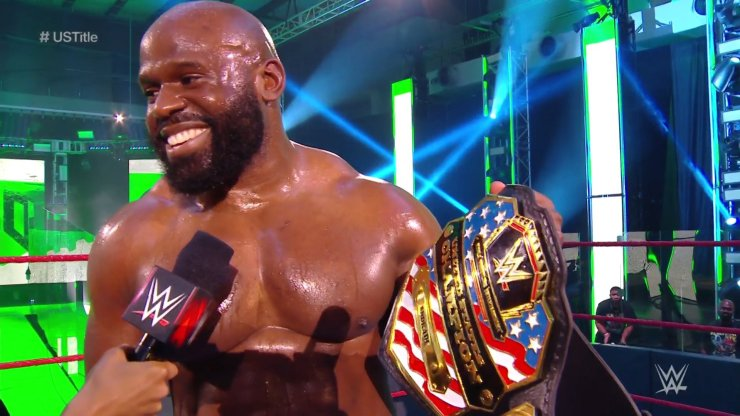 Apollo Crews, a Nigerian Born Wrestler, wins 1st WWE title after beating Andrade in a WWE match.