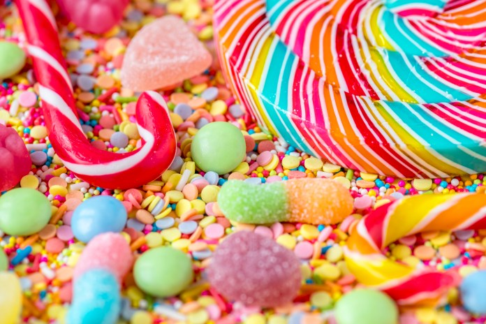 giant pile of candy, sweets, sugar