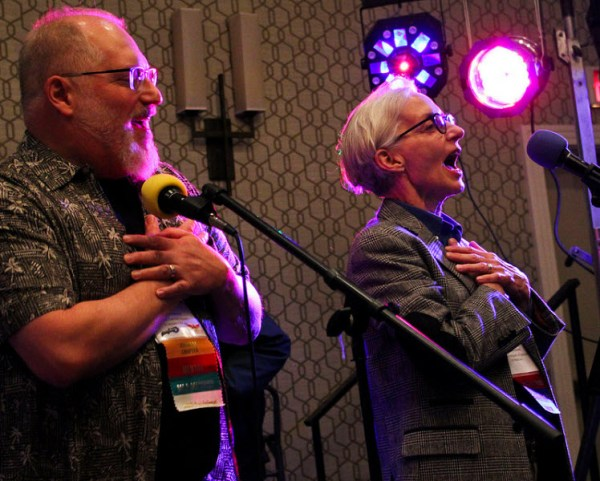 "Don Pearson and Jacqueline Leskovec singing ""I Got You Babe"". Jacqueline was Sonny, Don was Cher."
