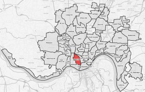 A map highlighting the Cincinnati neighborhood of West End