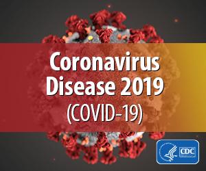 Coronavirus Disease 2019 (COVID-19) badge from the CDC
