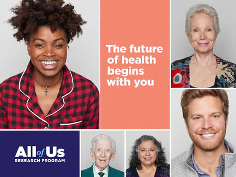 """diverse group of people with the All of Us Research Program logo and tagline, """"The future of health begins with you."""