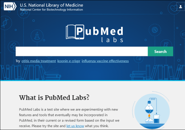 PubMed Labs website with an illustration of a beaker being lit by a heat source