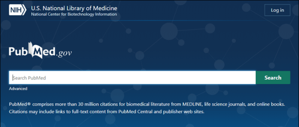 screenshot of the new pubmed.gov website with a blue background and a search function