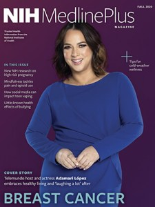 NIH MedlinePlus Magazine Fall 2020 cover of Telemundo host and actress Adamari Lopez