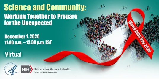30 PM Eastern Time. There is an image of a crowd of people on the right, standing in the shape of the continents. A red ribbon is overlaid with the words World AIDS Day 2020 written on it.