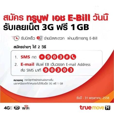 โปรโมชั่น สมัครทรู E-Bill รับเน็ต 3G ฟรี 1 GB (วันนี้ – 31 พ.ค.58)