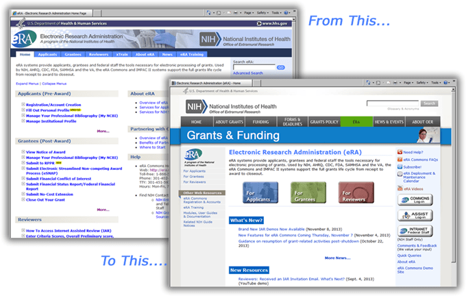 Image showing old and new web sites