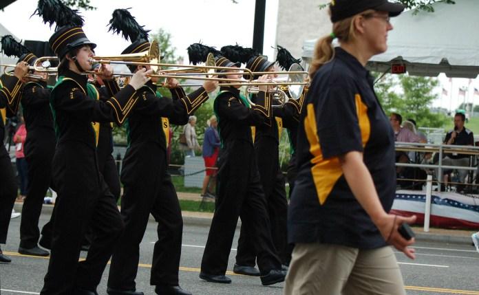 Elk Grove High School band in Washington DC July 4 2016 with Washington Monument
