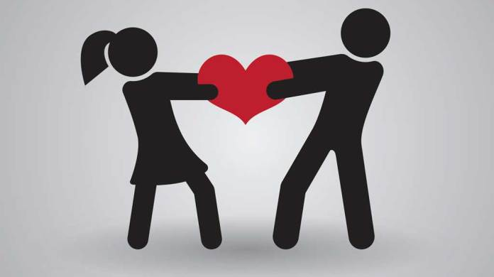 image of love in tug of war