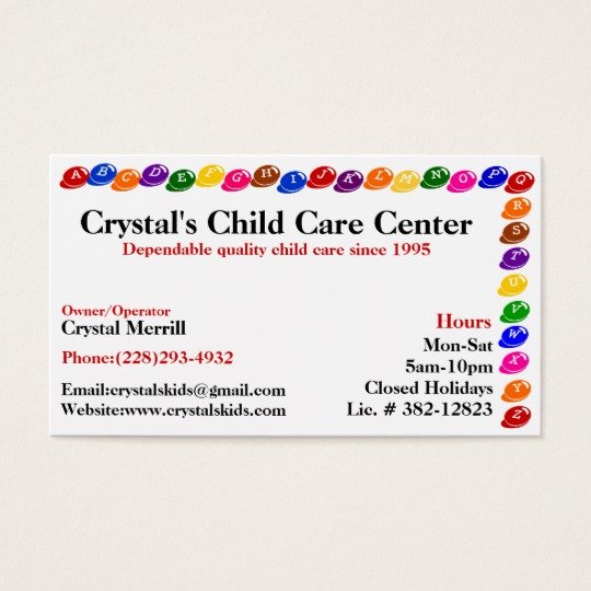 childcare business cards - Daycare Business Cards
