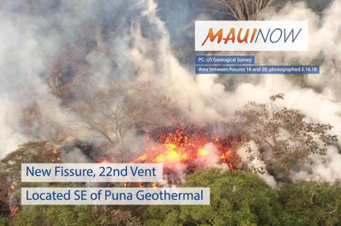 Maui Now : New Fissure, 22nd Vent Located SE of Puna Geothermal