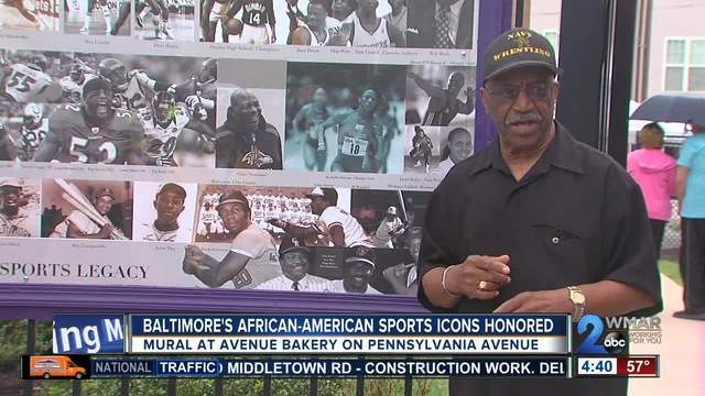Mural honors Baltimore's African-American sports icons