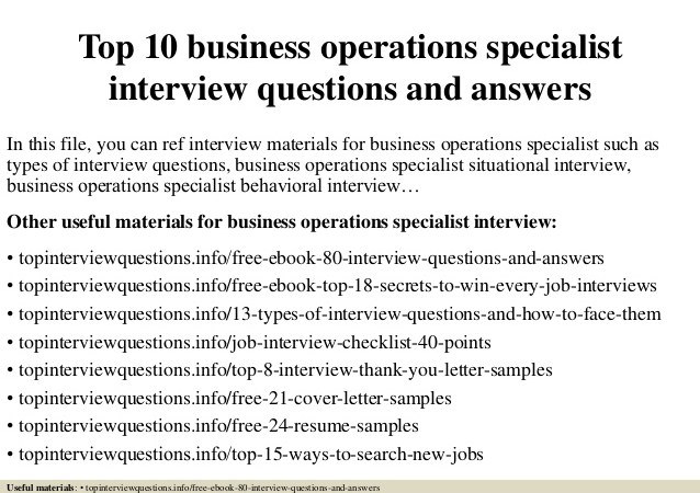 business operation specialist