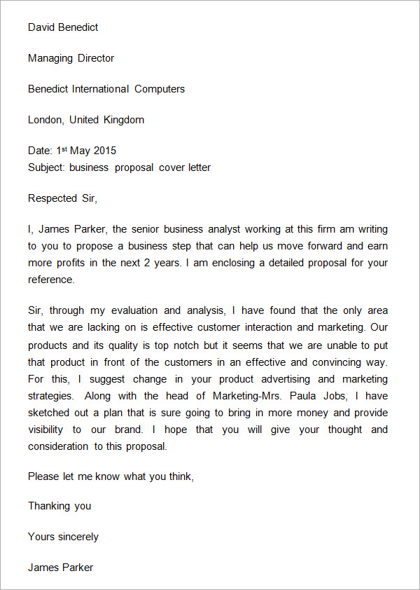 Business Proposal Letter Example News
