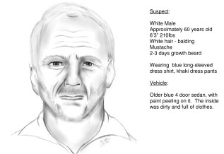 Sketch of suspect with information about him.