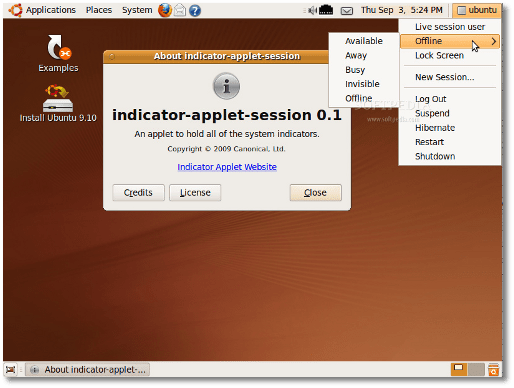 The new Indicator Applet Session in Ubuntu 9.10 Alpha 5