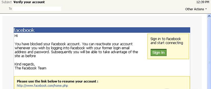 Falsa notificación de Facebook