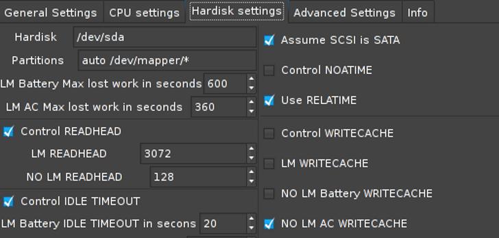 La interfaz de Laptop Mode Tool