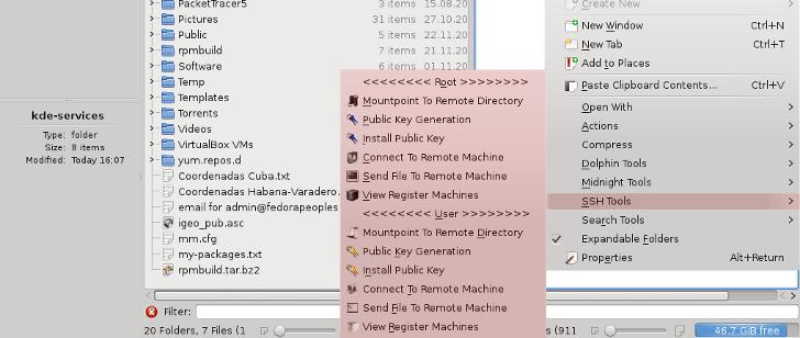 El menú KDE service