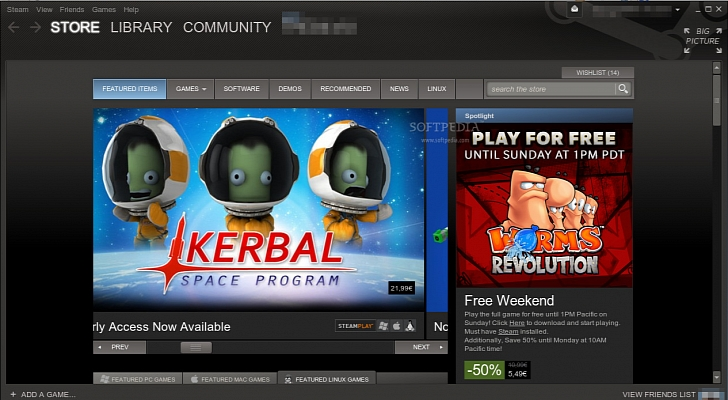 La interfaz de Steam para Linux