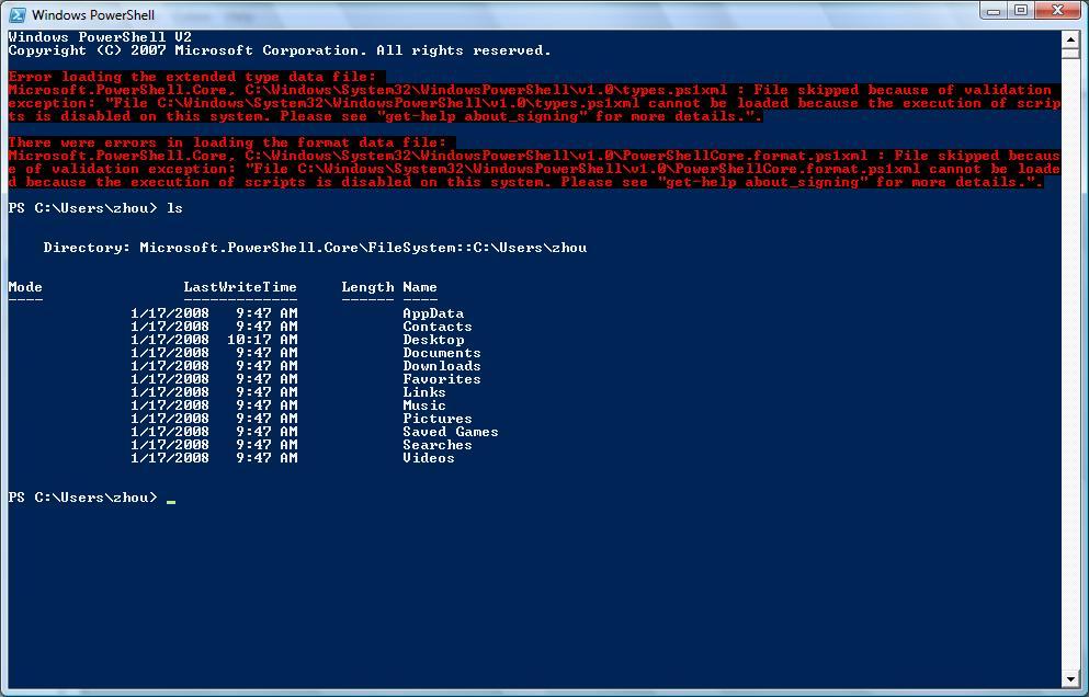 Windows 7 screenshot with PowerShell v2