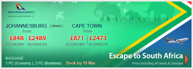 South African Airways Special Fares To South Africa
