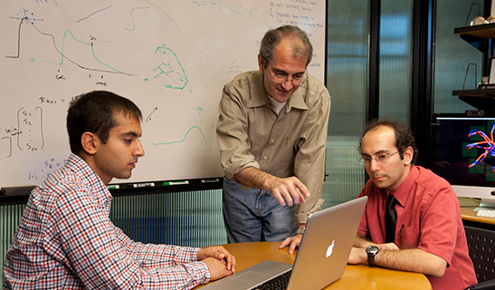 Stanford researchers Vikash Gilja,  Krishna Shenoy and Paul Nuyujukian.