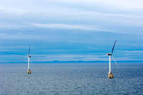 Two offshore wind turbines