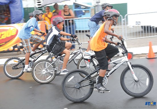 Cyclists make their way along the course while competing at the Independence Cycling Championships.