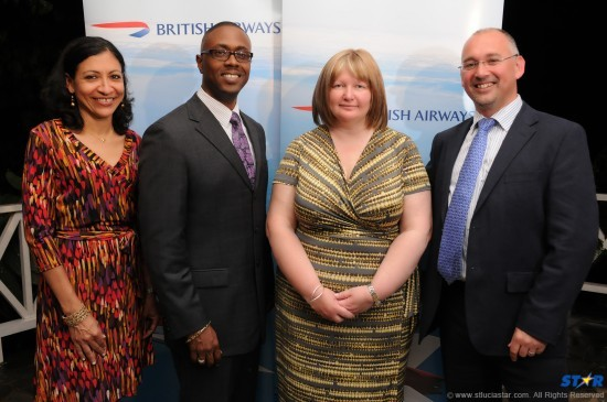 Tourism Minister Lorne Theophilus (second from left) with British Airways representatives.