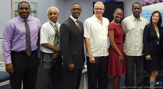 From left: Director of Tourism Lewis Louis, Airport Manager Theodore Matthew, Tourism Minister Lorne Theophilus, Chairman of the St Lucia Tourist Board Matthew Beaubrun, SLASPA Marketing Manager Marva Greenidge, Minister of Infrastructure and Port Services Phillip J Pierre and Director of United Airlines,Millie Uriante.