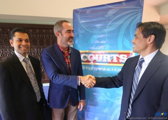 Feisal Muradali, Regional Director of Marketing of courts, Jamie Stewart, Commercial Director CPLT20, and Derek Luk Pat, courts OECS Managing Director.