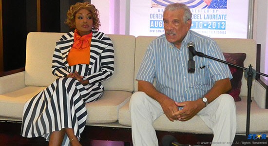 Nobel Laureate Sir Derek Walcott and St Lucian actress Natalie La Porte at this week's launch of 'O Starrystarry Night.'