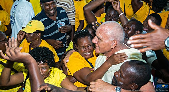 In Marigot the other Sunday it was hard for some people to tell the candidate's Papa (pictured) from the real candidate Allen Chastanet.