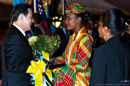 Taiwan's President Ma Ying-Jeou (l) received a warm welcome to St Lucian shores.