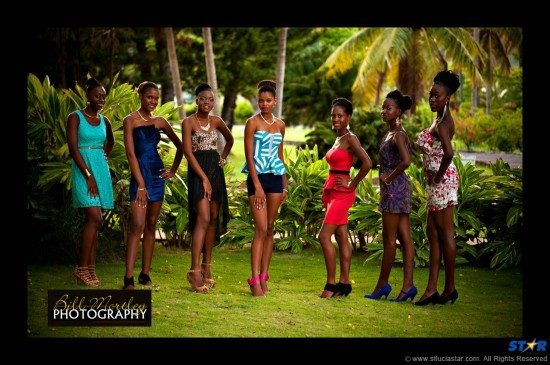 The contestants for the Choiseul Cultural Festival Pageant.