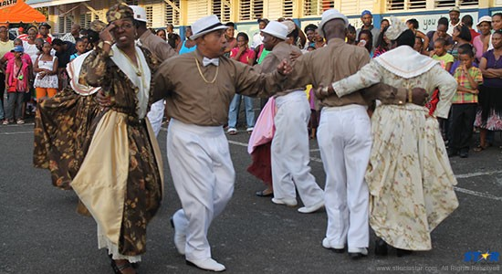 The Flamboyant dancers performing in Babonneau at Sunday's launch of Creole Heritage Month.