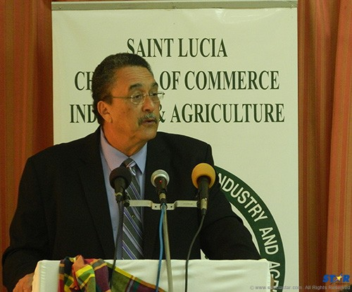 Kenny Anthony addressing the Saint Lucia Chamber of Commerce luncheon meeting on Thursday where he presented the case for the PetroCaribe  deal between Saint Lucia and Venezuela.