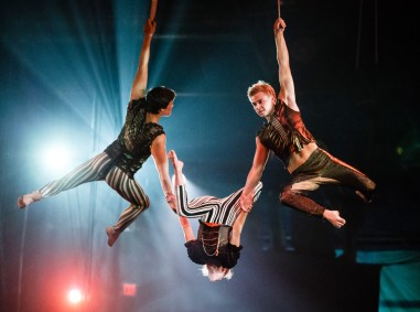 """Student Nick Dahlen (right) performs in the Circus Juventas production of """"Neverland."""" Watch for more coverage of Dahlen in the WInter 2015 issue of St. Thomas magazine."""