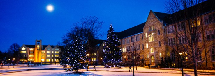 Christmas lights adorn the lower quad.