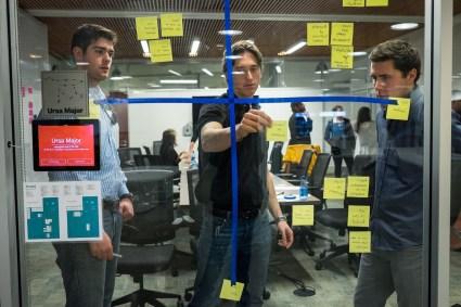 Lucas Gaughan, Mike Schmitt and Justin Thunstrom arrange their individual assumptions into quadrants.
