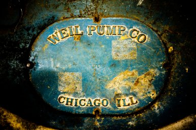 The manufacture plate on the pump.