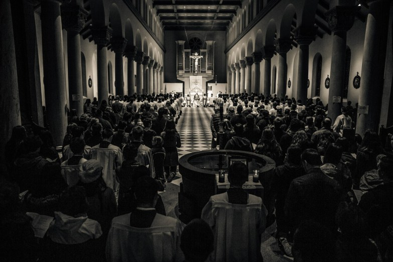 Hundreds gathered in St. Mary's Chapel for the opening of 40 hours of prayer.