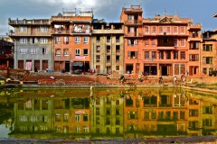 """Honorable Mention, Sense of Place: Caitlin Woodard, Kathmandu, Nepal. """"Nepali Reflection: I took this photo on my first day in Nepal. I think it perfectly captures the basic living conditions of the average Nepali. The architecture is so simple yet mesmerizing."""""""