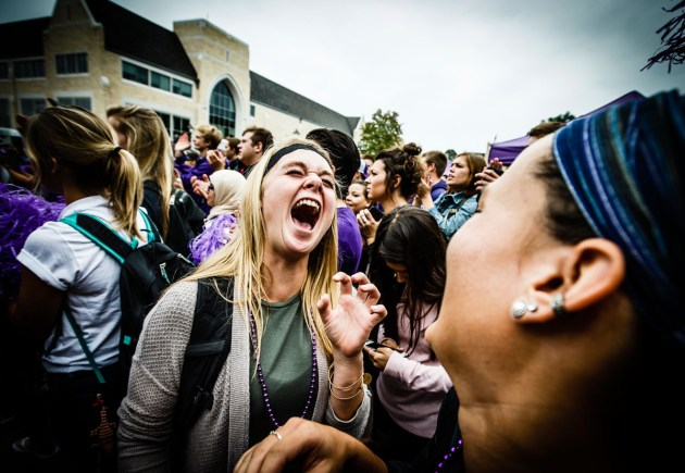 """Students cheer during a pep rally for ESPN's """"SportsCenter on the Road"""" program."""