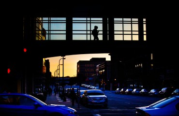 The skyway from the School of Law to a parking ramp at sunset.