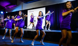 The dance team performs at the brand launch event.
